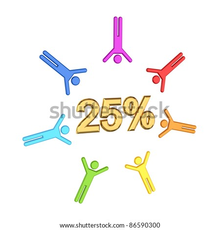 Colorful 3d small people and golden  inscription 25%.Isolated on white background. - stock photo