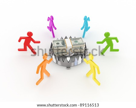 Colorful 3d small people around iron trap and dollars.Isolated on white background. - stock photo