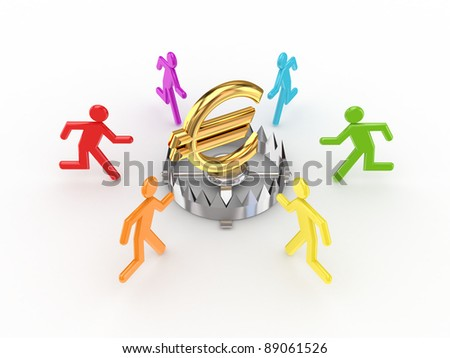 Colorful 3d small people around iron trap and euro sign.Isolated on white background. - stock photo