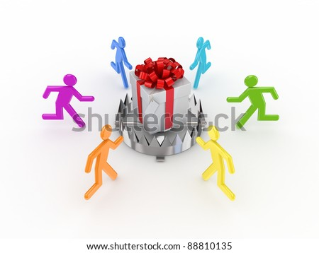 Colorful 3d small people around iron trap and gift box.Isolated on white background. - stock photo