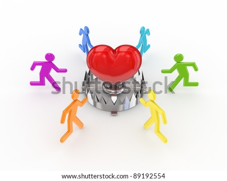 Colorful 3d small people around iron trap and red heart.Isolated on white background. - stock photo