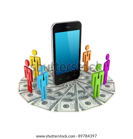 Colorful 3d small people around mobile phone and dollars.Isolated on white background. - stock photo