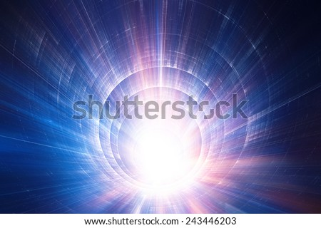 Colorful 3D speed tunnel - stock photo
