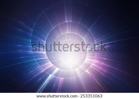 Colorful 3D speed tunnel warp - stock photo
