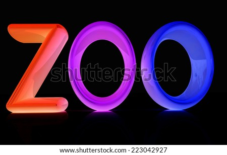 "Colorful 3d text ""Zoo"" on a black background - stock photo"