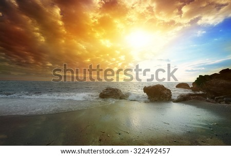 Colorful dawn over the sea. Nature composition. - stock photo