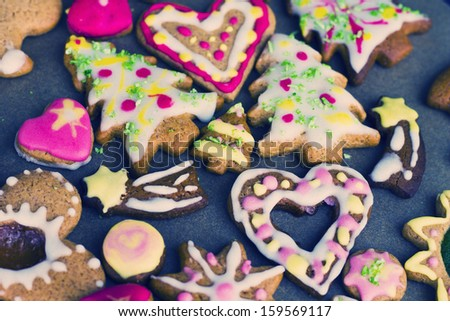 Colorful decorated christmas  cookies, close up - stock photo