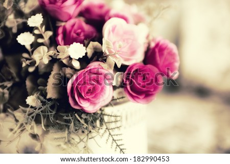 Colorful decoration artificial flower (vintage) - stock photo