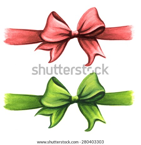 Colorful decorative bow ribbons set isolated on white background. Watercolor illustration - stock photo