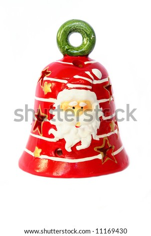 colorful decorative christmas bell isolated on white background - stock photo