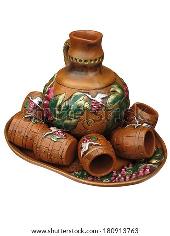 Colorful designed clay vase isolated over white background - stock photo