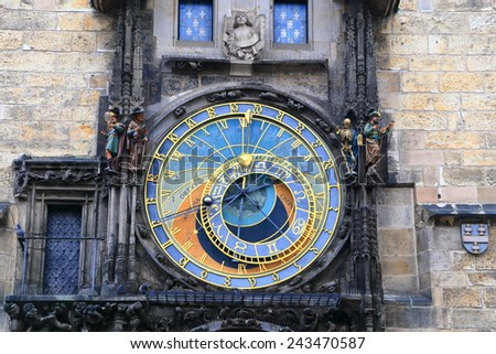 Colorful dial of the Astronomical Clock in Prague Old Town, Czech Republic - stock photo