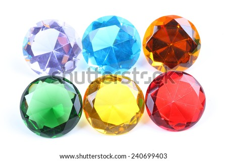 Colorful diamond on a white background - stock photo