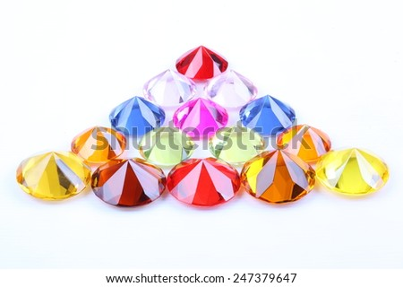 Colorful diamonds on white background, with clipping path - stock photo