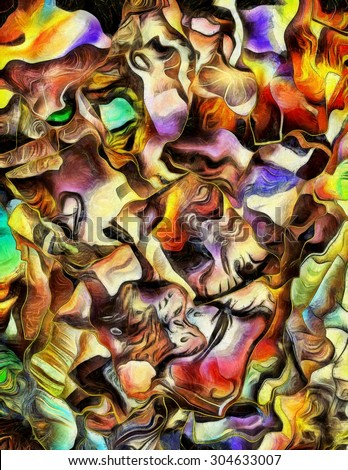 Colorful dimensional abstract painting - stock photo