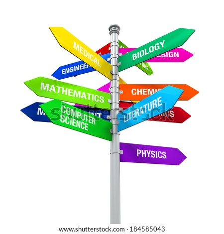Colorful Direction Sign of Majors - stock photo