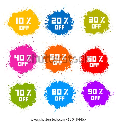 Colorful Discount Labels, Stains, Splashes - stock photo