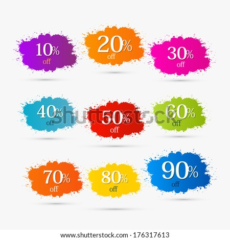 Colorful Discount Labels, Stains, Splashes. 10,20,30,40,50,60,70,80,90 Percent Off. - stock photo