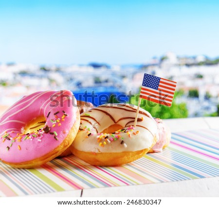 Colorful donuts with flag of USA. American fast food. - stock photo