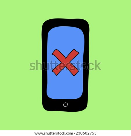 Colorful doodle style smartphone with red cross as error or removal sign - stock photo