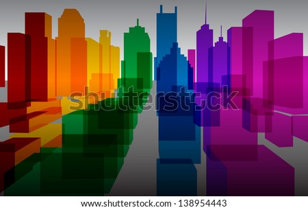 Colorful downtown background - stock photo