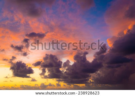 Colorful dramatic sky with clouds. - stock photo