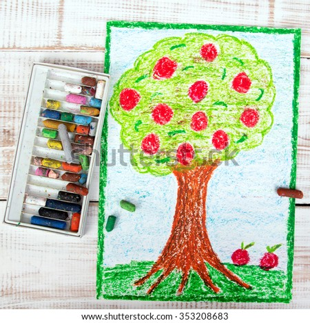 colorful drawing: apple tree - stock photo
