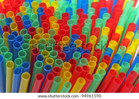 Colorful drinking straws background - stock photo