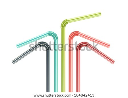 colorful drinking straws isolated on white background. 3d illustration - stock photo