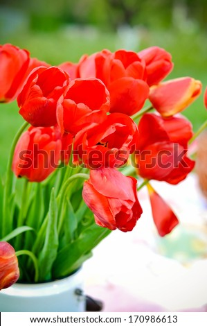Colorful easter decoration with tulips outdoors - stock photo
