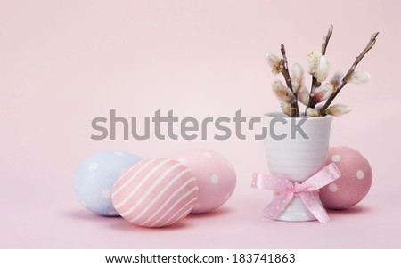 Colorful easter eggs and pussy-willow. With retro filter effect - stock photo