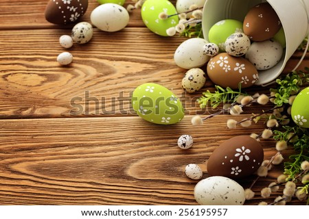 colorful easter eggs decoration - stock photo