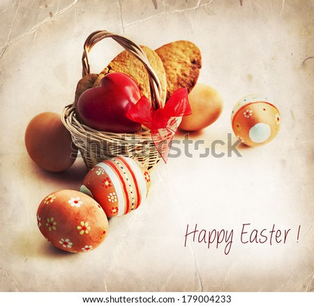 Colorful Easter eggs in a little basket. Easter background, spring themes. easter composition - stock photo