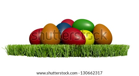 Colorful easter eggs on grass - clipart illustration for festive design or icon creation - stock photo