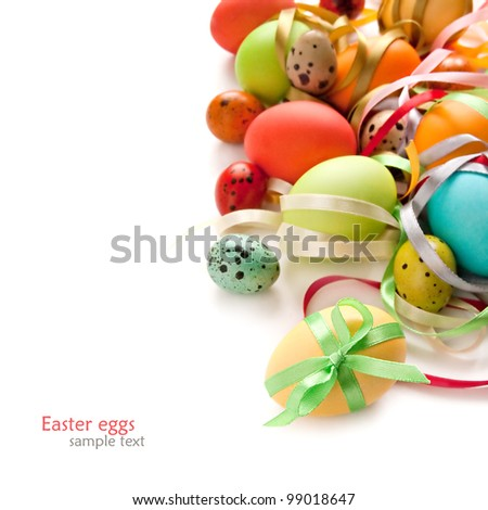 Colorful Easter Eggs with ribbon on the white background - stock photo