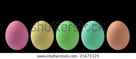 Colorful eggs isolated - stock photo