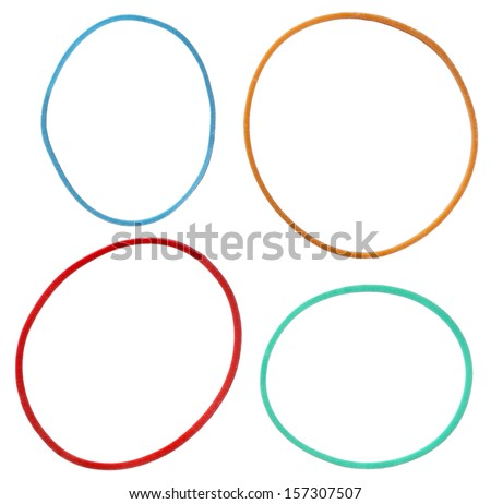 Colorful elastic rubber bands isolated on a white background - stock photo