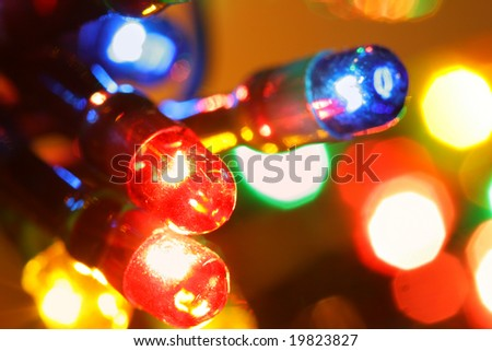 Colorful electric light bulbs close-up - stock photo
