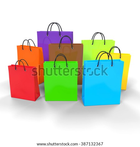 Colorful Empty Shopping Bags - stock photo