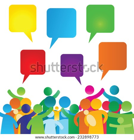 Colorful, empty speech bubbles and people group - stock photo