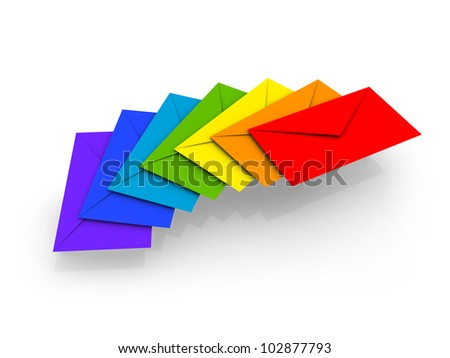 Colorful envelopes on white background as a metaphor of happy chain letters - stock photo