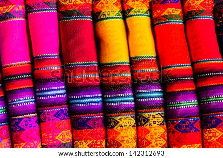 Colorful Fabric at market in Peru, South America - stock photo