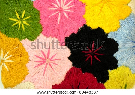 Colorful Fabric flower 1 - stock photo