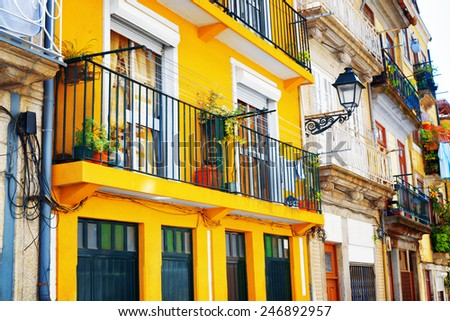 Colorful facades of old houses in Porto, Portugal. Porto is one of the most popular tourist destinations in Europe. - stock photo