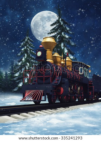 Colorful fairytale train in a winter forest at night - stock photo