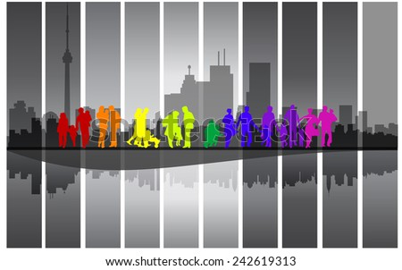 Colorful family walking in the city - stock photo