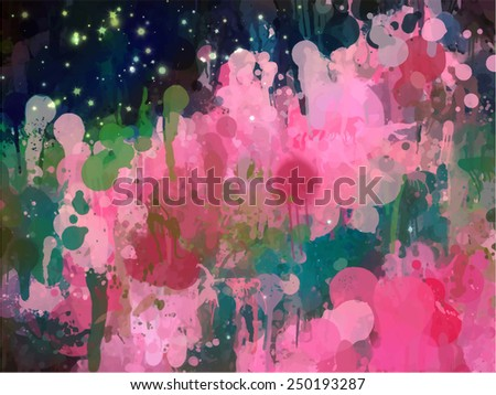 Colorful fantastic brush strokes background. Raster version - stock photo
