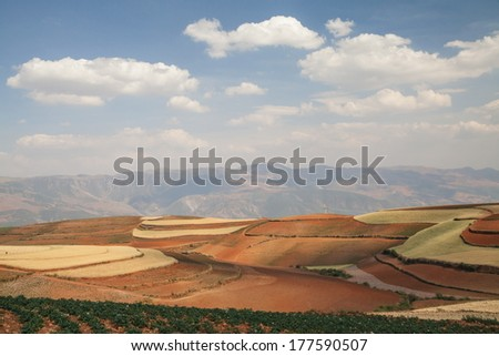 Colorful farmland in dongchuan of china - stock photo