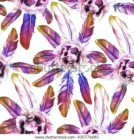 Colorful feathers seamless pattern with flowers. - stock photo