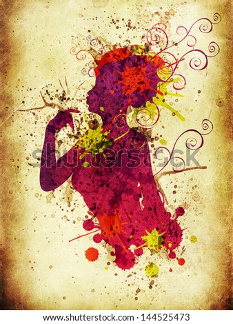 Colorful female silhouette with swirls and splatters on white background. - stock photo